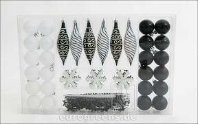 Set zwart-witte kerstversieringen 49 stuks